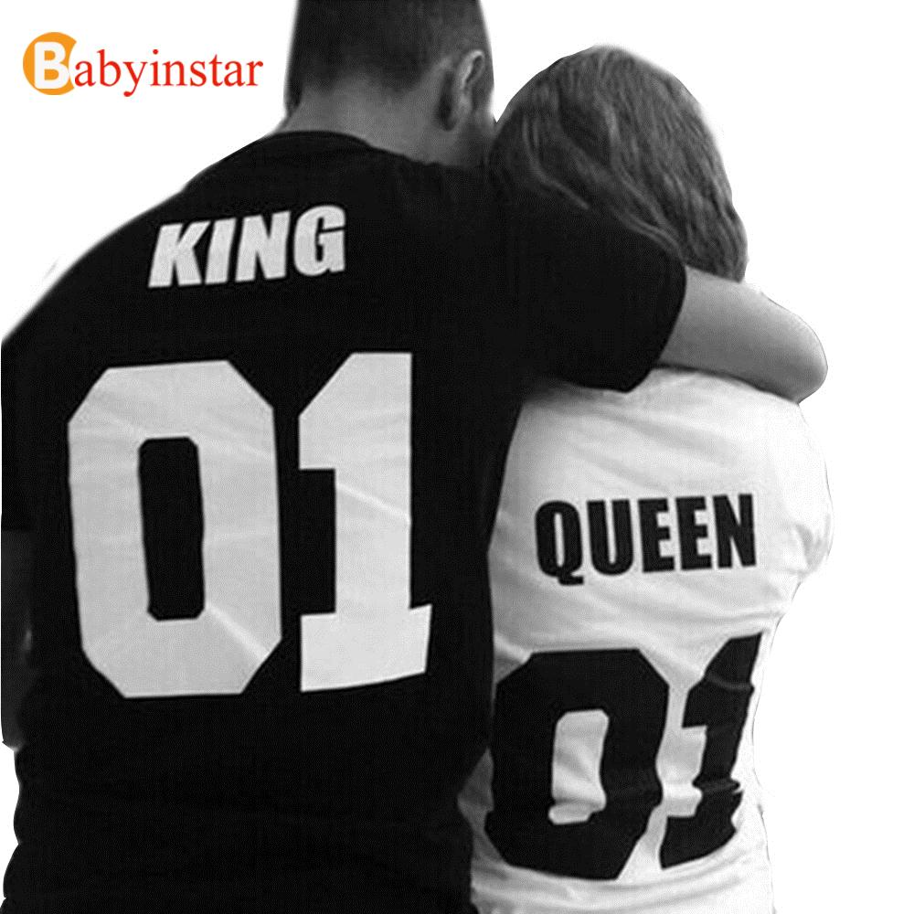 Fashion Couple Matching Outfits Punk Hip Hop Style King And Queen Print Short Sleeve T Shirt