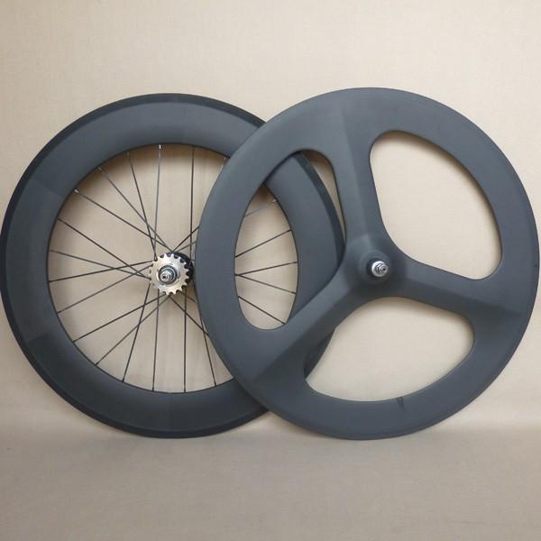 Track carbon wheels 70 tri spoke front 88mm rear wheel 700C clincher fixed gear фото