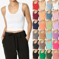Basic Racerback Cropped Tank Top Sleeveless Scoop Neck Plain Ladies Tank Top