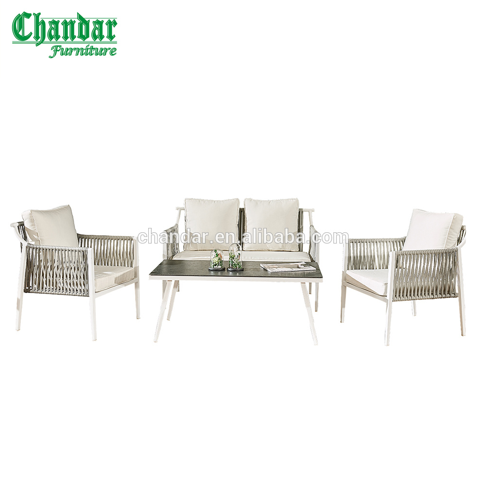 Powder coated aluminum garden sofa set pe wicker rattan sofa set outdoor furniturepatio sofa set