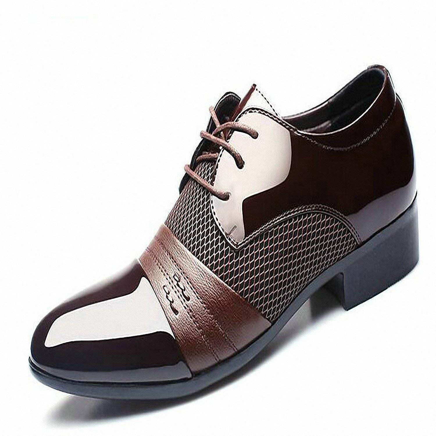 Baolustre Working Office Shoes Mens Patent Leather Shoes Business Wedding Shoes Lace up Pointed Toe Flat Big Size 37-47 Brown 12