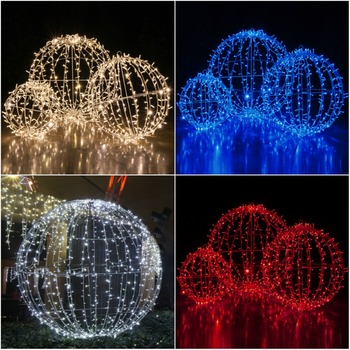 Outside Led Lighted Christmas Folding Ball Sphere Lights