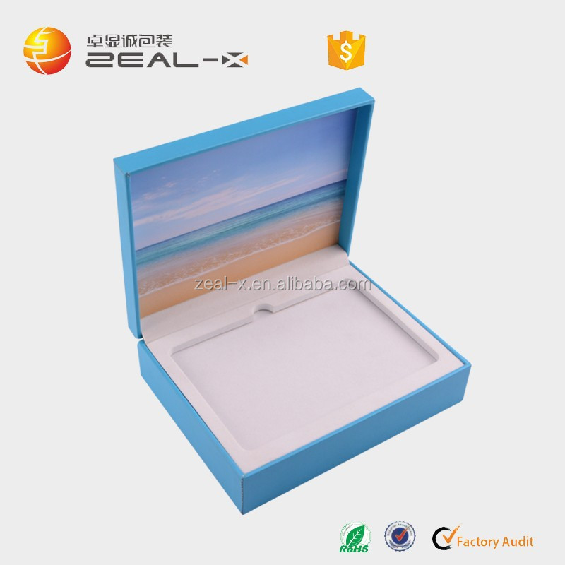 Blue book shape customized leather paper packaging box for tablet computer