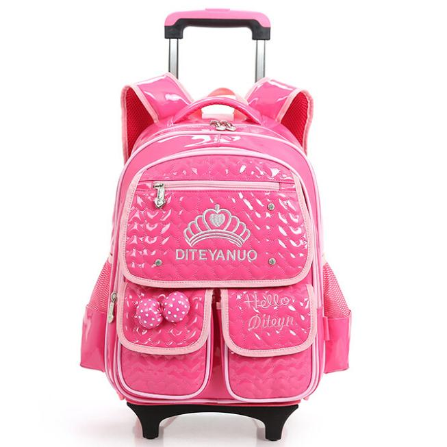 04829b38090e 2015 High Quality Removable Children Trolley School Bags Cute Cartoon Hello  Kitty 6 Wheels Backpacks Bags for 3-6 Grade Girls