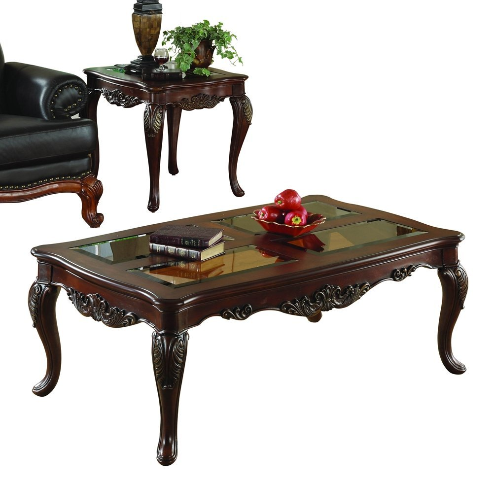 Ella Martin 2 Piece Coffee Table Set by Homelegance in Warm Brown Cherry