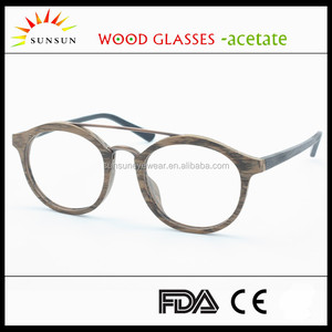 2016 old school Acetate Frames full frame double bridge Wood eyeglasses