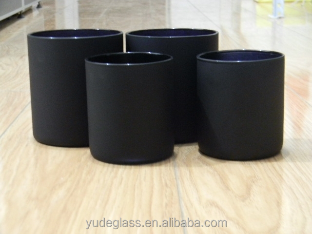 High quality black candle jars wholesale, glass candle jars with wooden  lids, View candle jars wholesale, YUDE Product Details from Zibo Yude