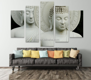 HD Print 5 Panel Buddha Paintings Art on Canvas Wall Decoration
