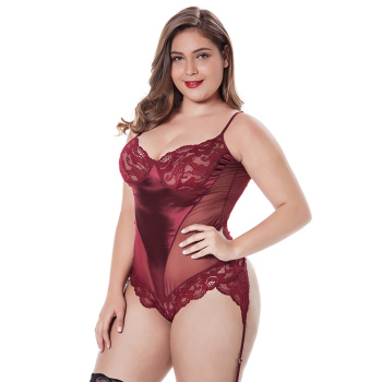 Red Floral Teddy Bodysuit Satin Panel Hot sales china cheap mix colors black plus size lingerie sexy fat women