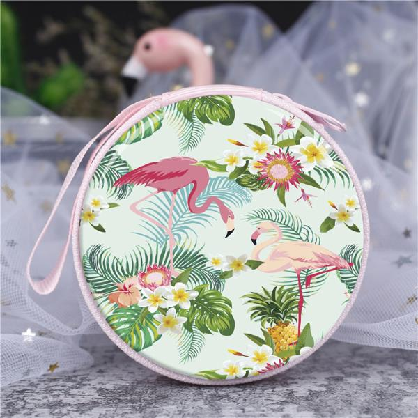Wholesale flamingo series cartoon zipper coin purse headphone case for lady kids cable organizer case