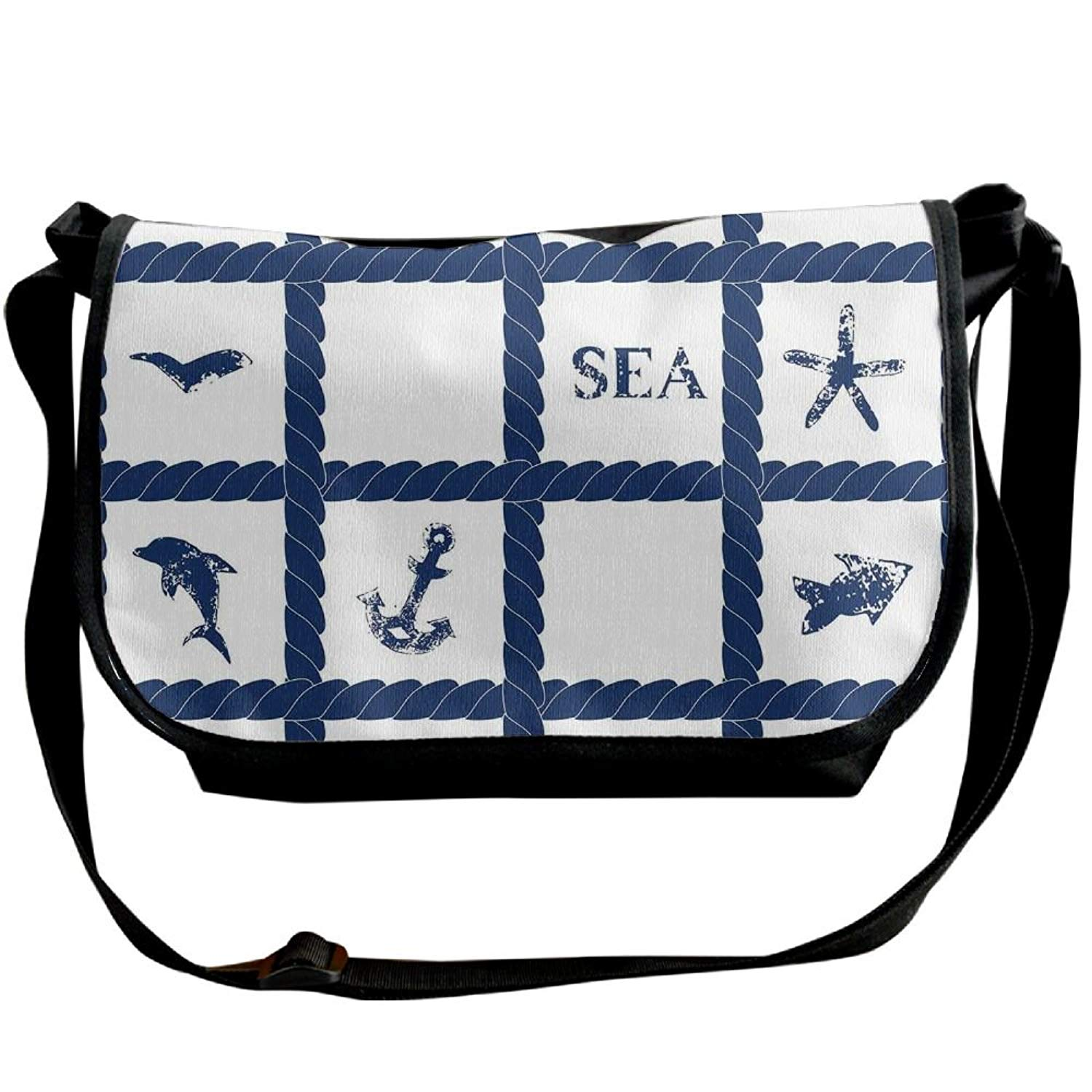 747bd1dd83 Get Quotations · Lovebbag Navy Yacht Rope Used As Frame With Starfish Fish  And Anchor Image Crossbody Messenger Bag