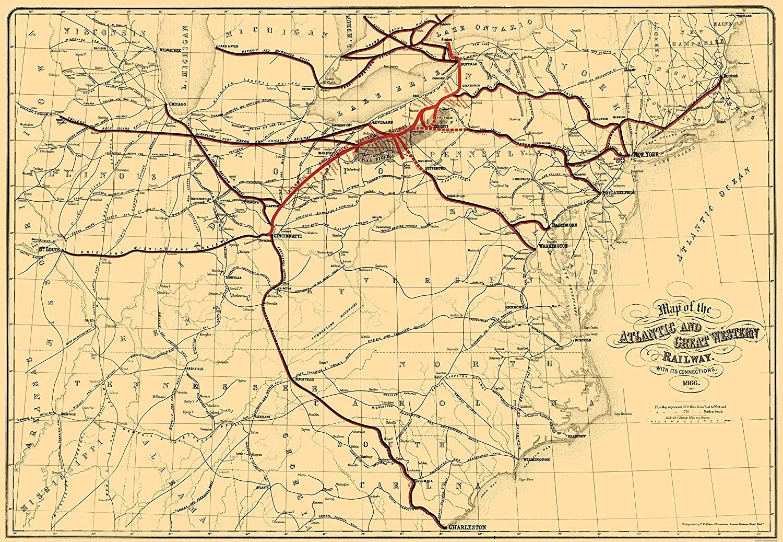 Old Railroad Map - Atlantic and Great Western Railway - Bihan 1866-23 x 33.26