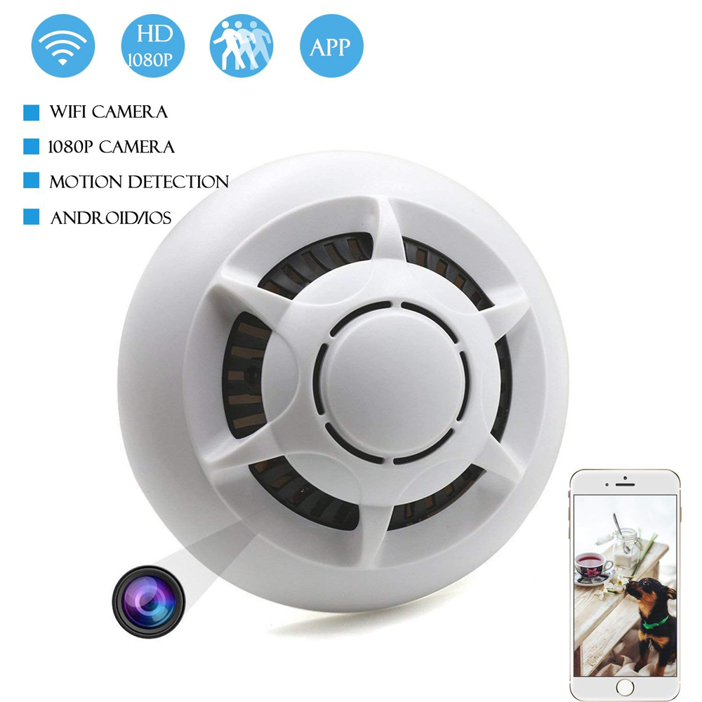 WIFI Hidden camera, UFO Wireless Smoke Detector camera HD 1080 with Motion Detection, Loop Recording, Remote View Cam PQ133