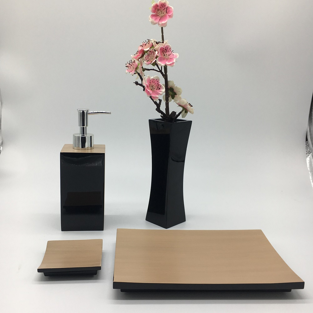 Black Polished Hotel Supply Bath Polyresin Accessories Vase