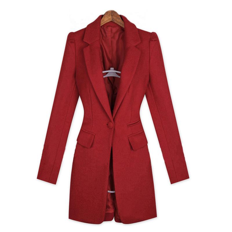 Get Quotations · Women Long Sleeve Autumn Winter Coats Single Button Solid  Wool Coat Turn-down Collar Slim 0f6f02deef6b