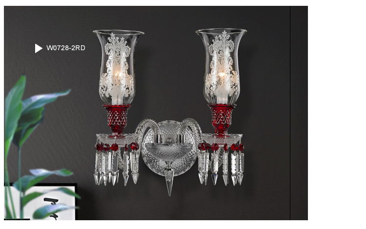 12 Light Baccarat Inspired Cristal Chandelier in Wine Red Color