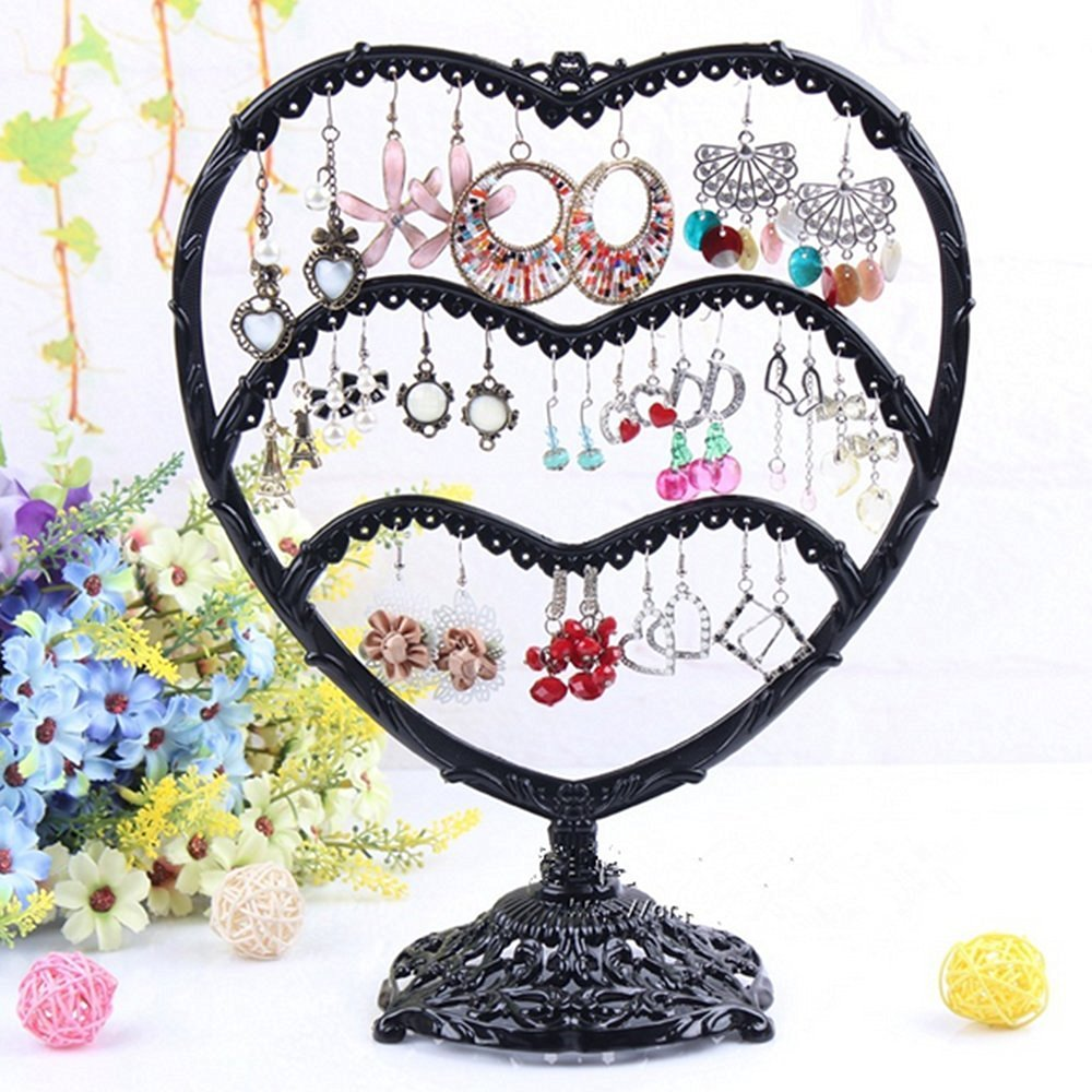 Cooking Time Jewelry Oraganizer / Necklace Display Stand Heart-Shaped Tower with Love Earring Holder (black)