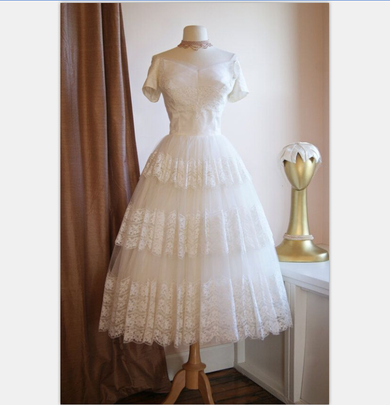 Vintage Lace Tea Length Beach Wedding Dress Short Sleeves: Vintage 1950s Tea Length Short Wedding Dress With Sleeves