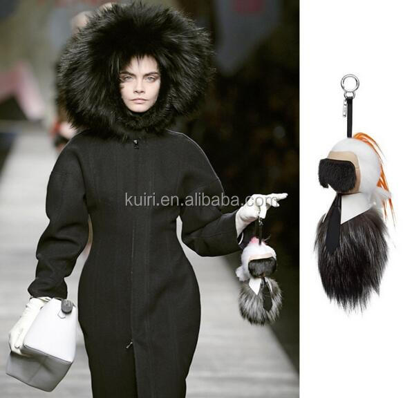 Faux Fur Manufacturers Wholesale Faux Raccoon/Fox/Rabbit Fur Pompom Woman Handbag