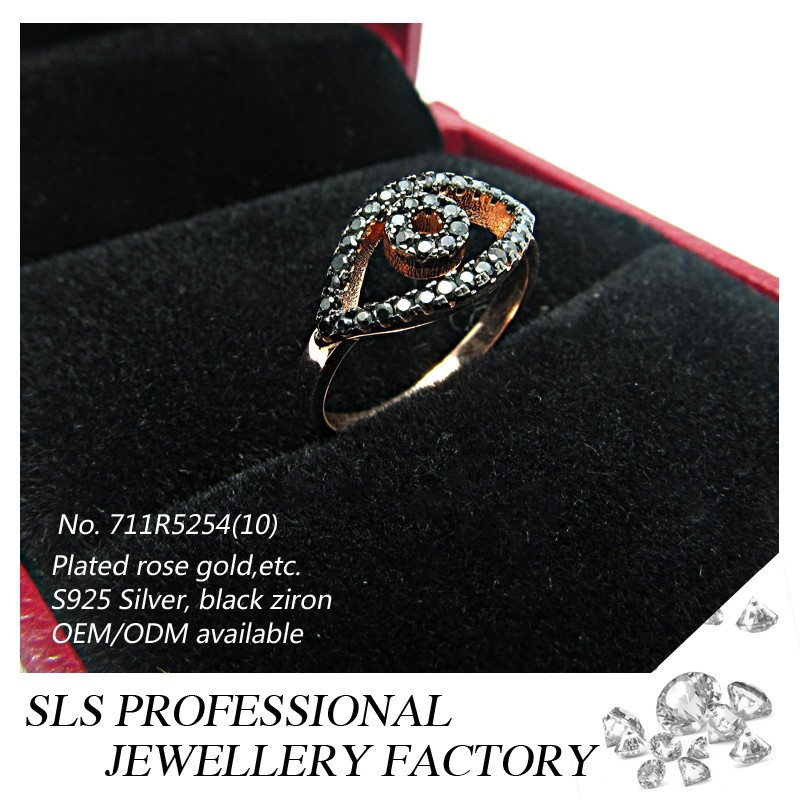 2015 china jewelry wholesale Evil Eyes ring black CZ 925 silver jewellery micro setting ring for girls