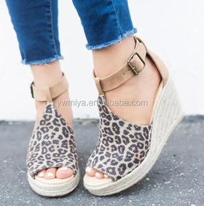 e7f1bfd6f7 CY-08 2019 Fashion summer Casual peep-toe pump leather sandals wedge  platform shoes