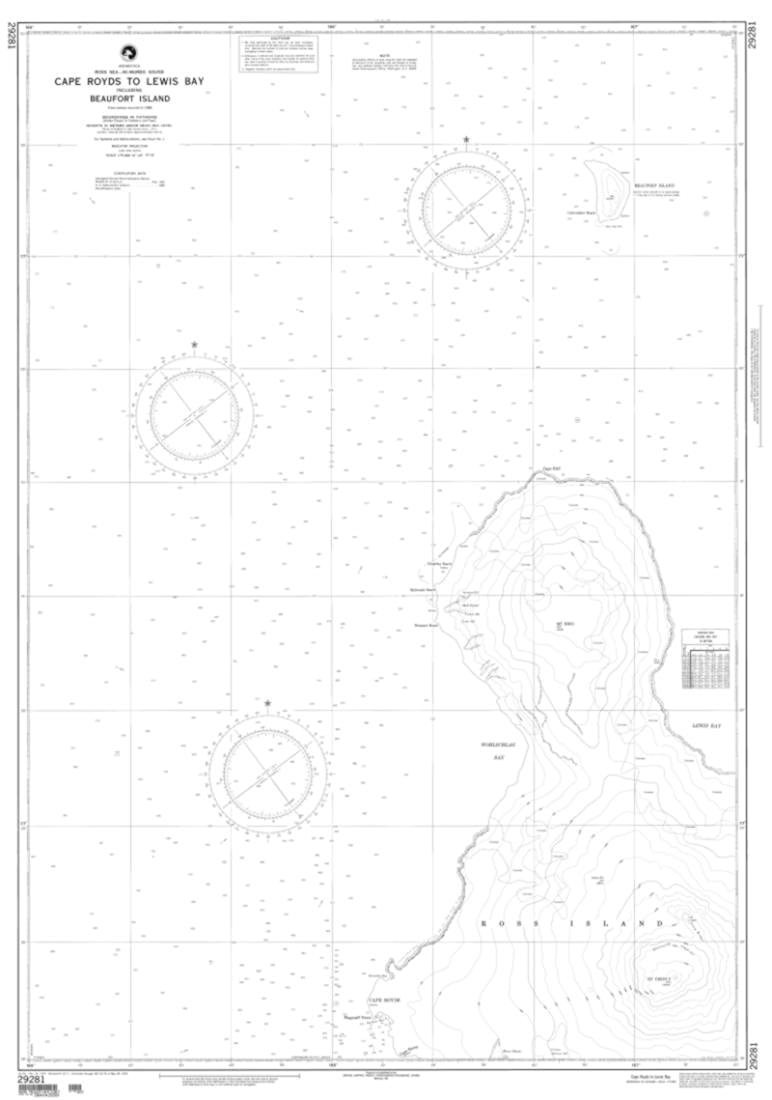 NGA Chart 29281-Cape Royds To Lewis Bay Including Beaufort Island