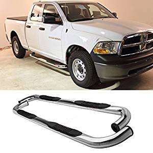 """Fit 09-14 Dodge Ram 1500 Quad/Extended Cab (w/ 2 Smaller Size Rear Doors) 3"""" S/S Side Step Rails Nerf Bar Running Boards"""