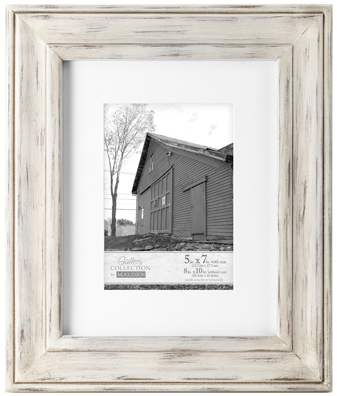 Malden International Designs Whitman White Wash Matted Wood Picture Frame, 5x7/8x10, White