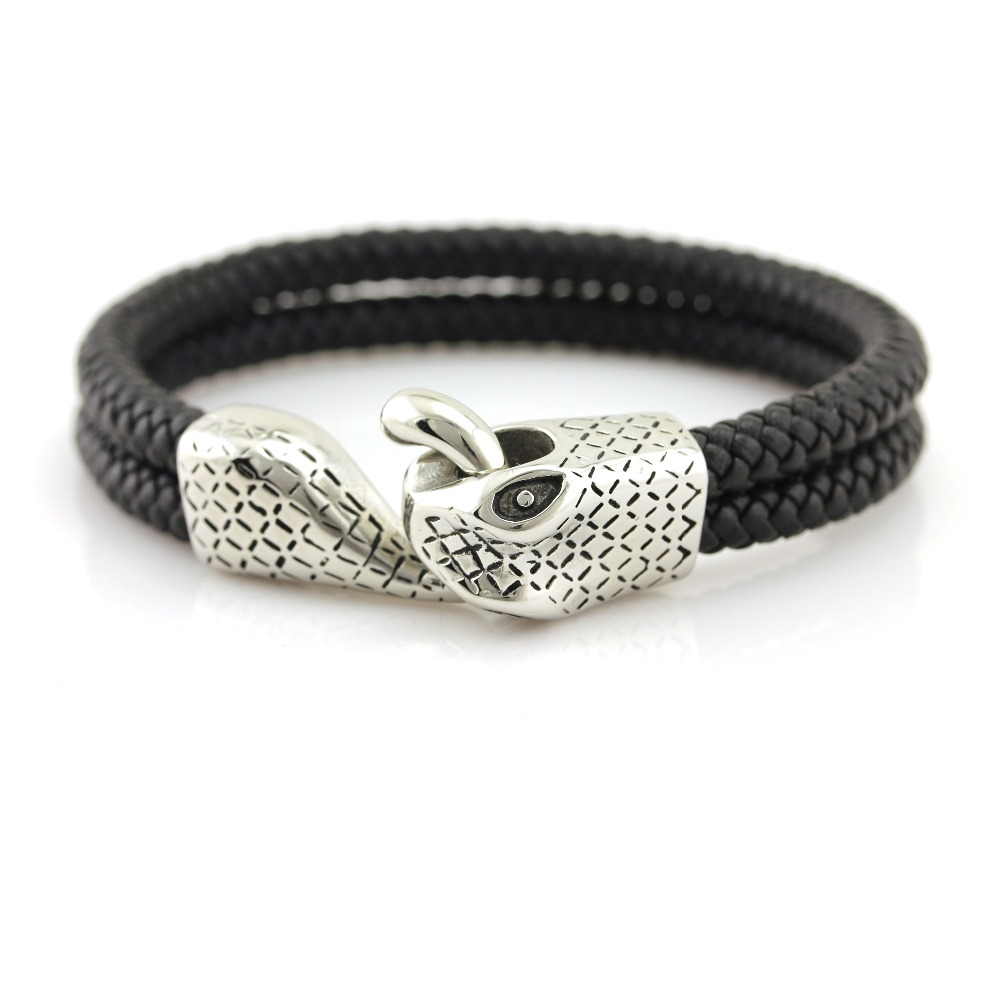snake head fancy cowhide leather wrist band for men