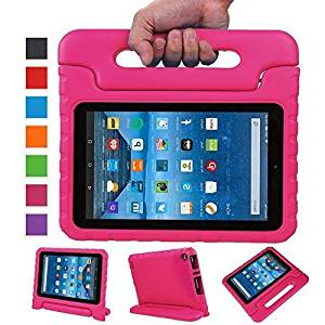 Sztook Shock Proof Kiddie Series Light Weight Convertible Handle Stand Case for Amazon Fire 7 Tablet 5th Generation - Black