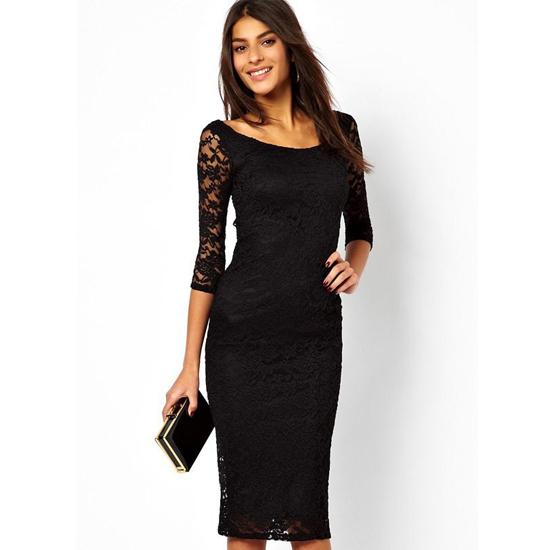 39d1f7ba906 Get Quotations · 2015 Sexy Pretty Lady Black Lace Midi Dress LC6287 Fashion  women lace o-neck dress