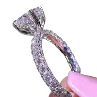 HSR591Hot Shine Full Rhinestone Princess Engaged Wedding Diamond Rings Women latest gold ring designs for girls B2447