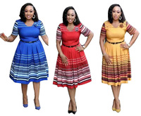 African Ladies Office Wear Women Dresses Striped Frock Style 2019 Pictures
