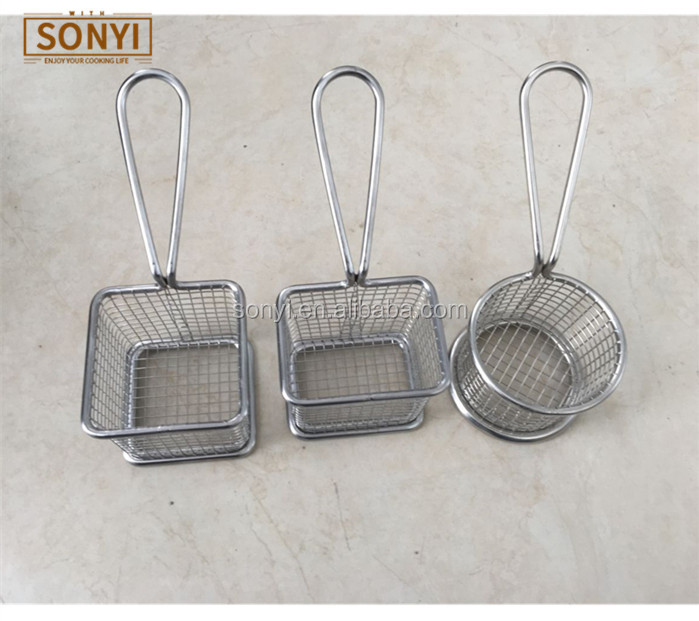 Round and Square and Rectangle Stainless Steel French chips Mini fry basket