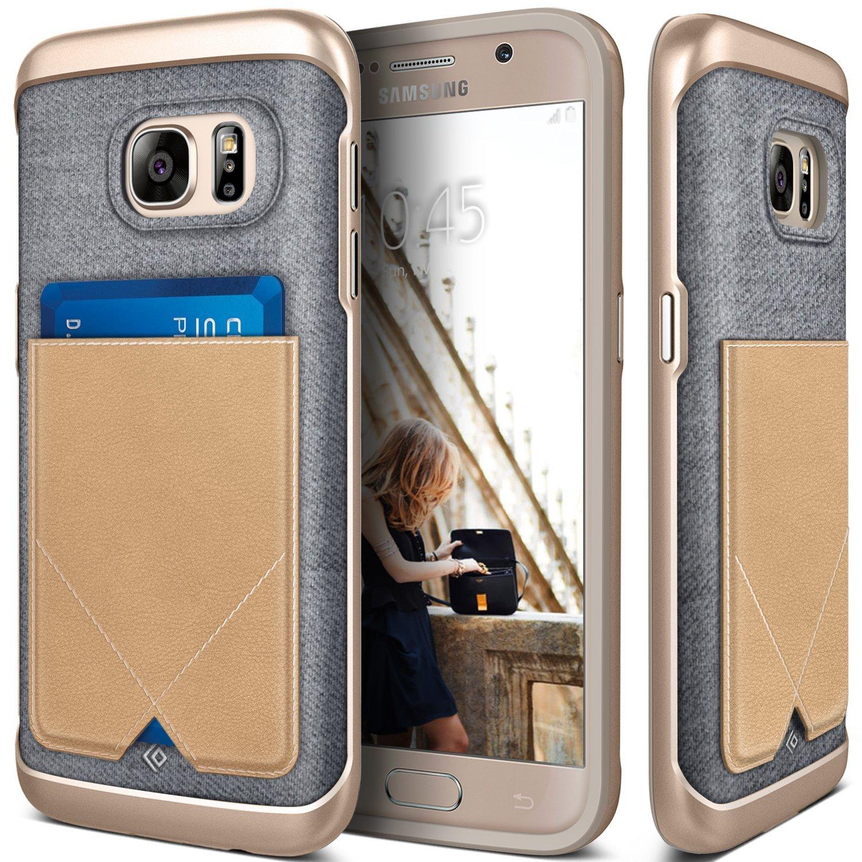 Galaxy S7 Case, Caseology® [Messenger Series] Genuine Leather Pocket [Beige] [Card Case] for Samsung Galaxy S7 (2016) - Beige