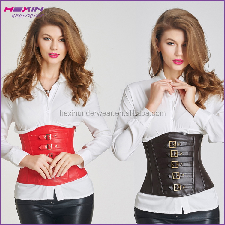 Underbust Strap Waist Leather Steel Boned Corsets for Men