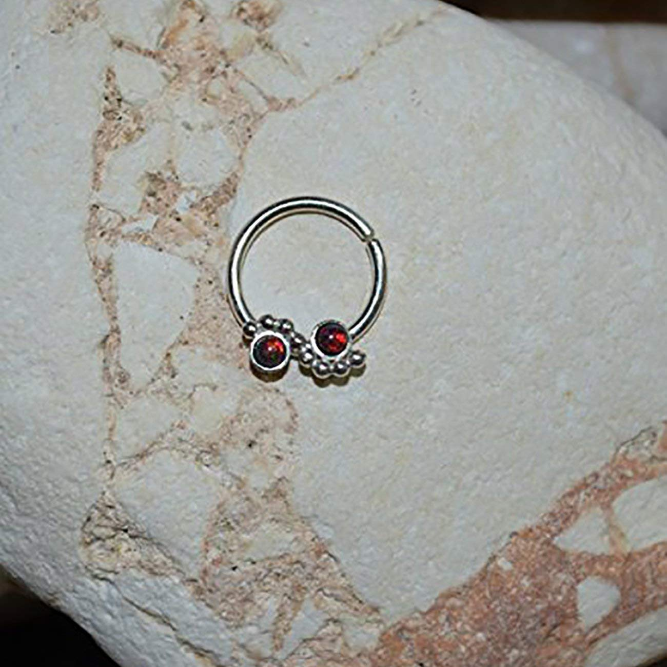 Get Quotations · 2mm Black-Red Opal SEPTUM RING  Silver Septum Piercing -  Small Nose Ring 9804795eb80c