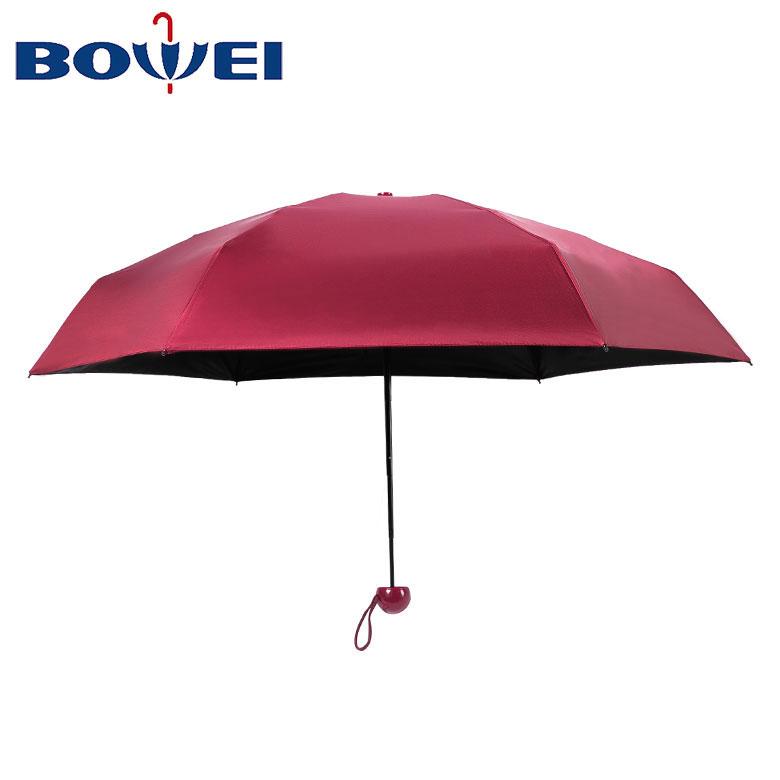 2019 High Quality Wholesale Cheap Custom Red Mini 3 Folding Capsule Umbrella UV Protection