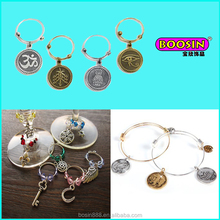 New hot sell custom lovely zinc alloy wine glass charms wholesale