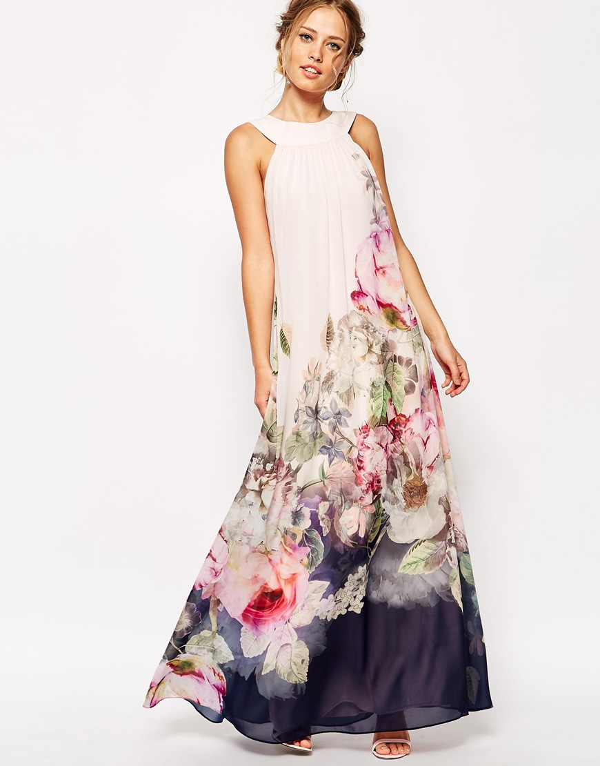 ef23d36464c Get Quotations · 2015 summer style floral print maxi dresses women beach  club casual loose chiffon sleeveless o-