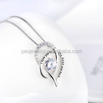PES fashion jewlelry! I Love You To The Moon and Back Love Heart pendant necklace(PES100-113)