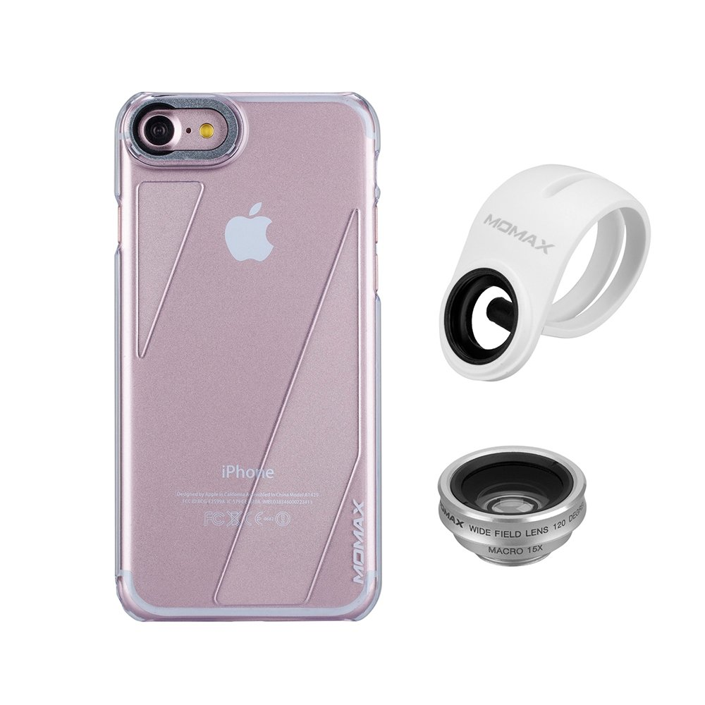 iphone 7 Camera Lens Case,MOMAX 2 in 1 Phone Lens Kit(Wide Angle Lens+Macro Lens) with iphone 7 Protect Case,Transparent