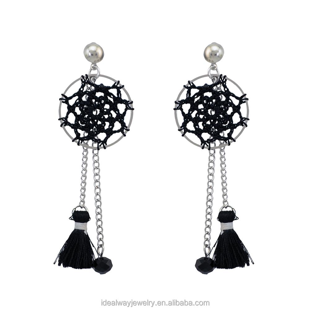 483b8a024733 5 colores de plata de Bohemia Chapado en a mano Dreamcatcher borlas  pendientes de cadena
