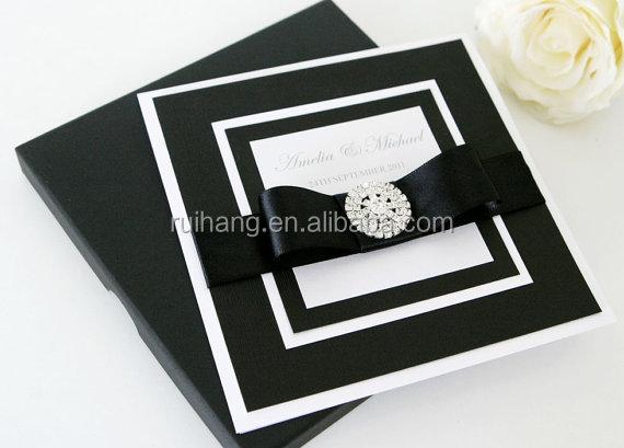 Luxurious Black Theme Jeweled Africa Style Wedding Invitation Cards Card Invitations