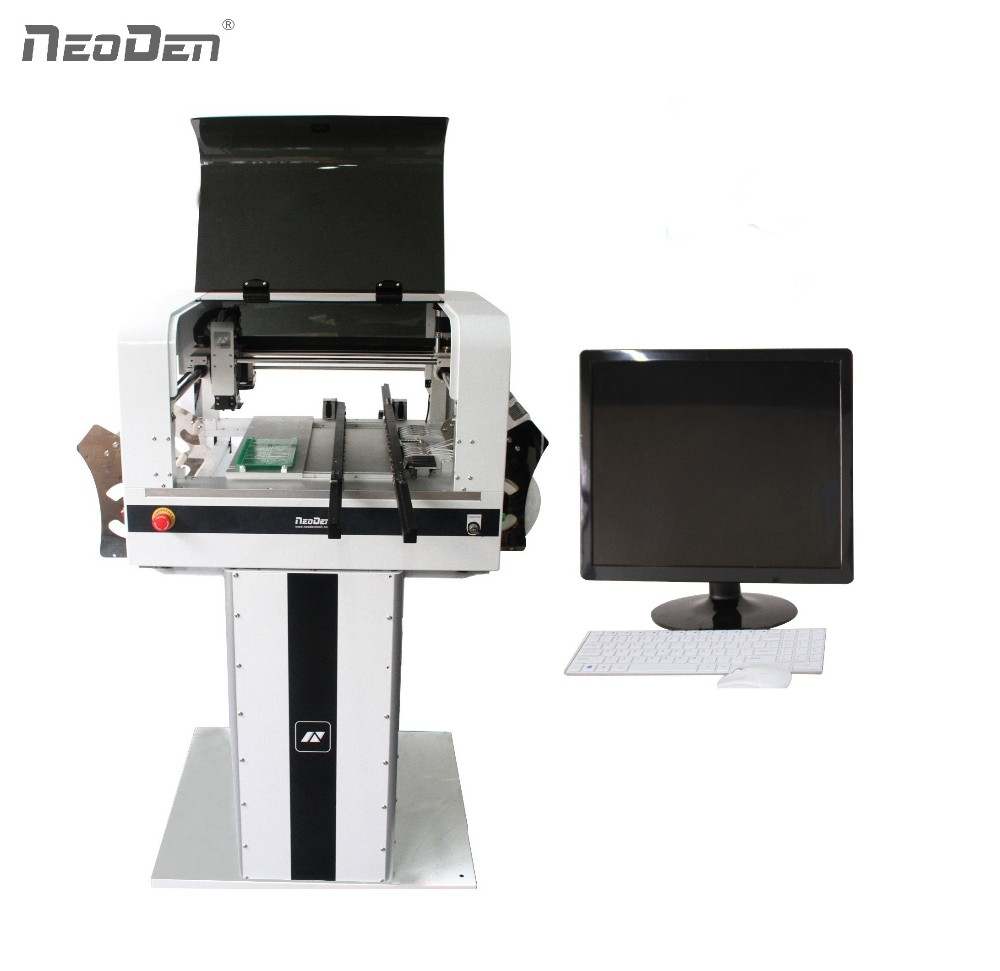 Vision Systeem en 4 Nozzles, hoge precisie, desktop Prototype PCBA SMT Desktop Pick and Place Machine Neoden 4