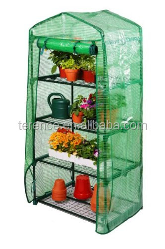 4 Tier home garden Mini cover mesh Greenhouse with Shelves & Reinforced PE Replacement green houses Cover