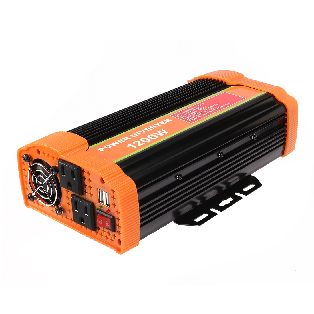 uxcell 1200W Car Power Inverter DC 12V to 110V AC Inverter w 2.1A Dual USB Car Charger Charging Ports