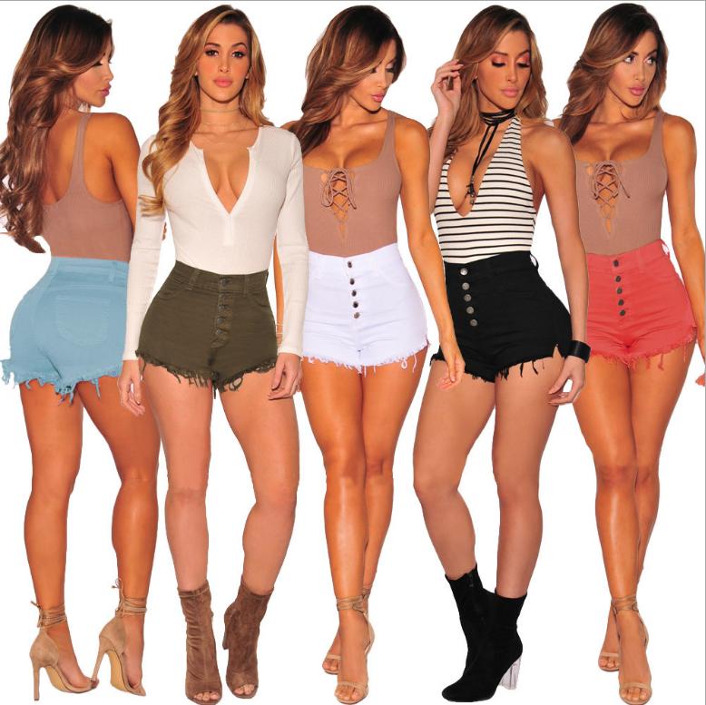Lady Skinny Denim Pant Ripped Denim Jean High Waist Women slim Hot Shorts plus size фото