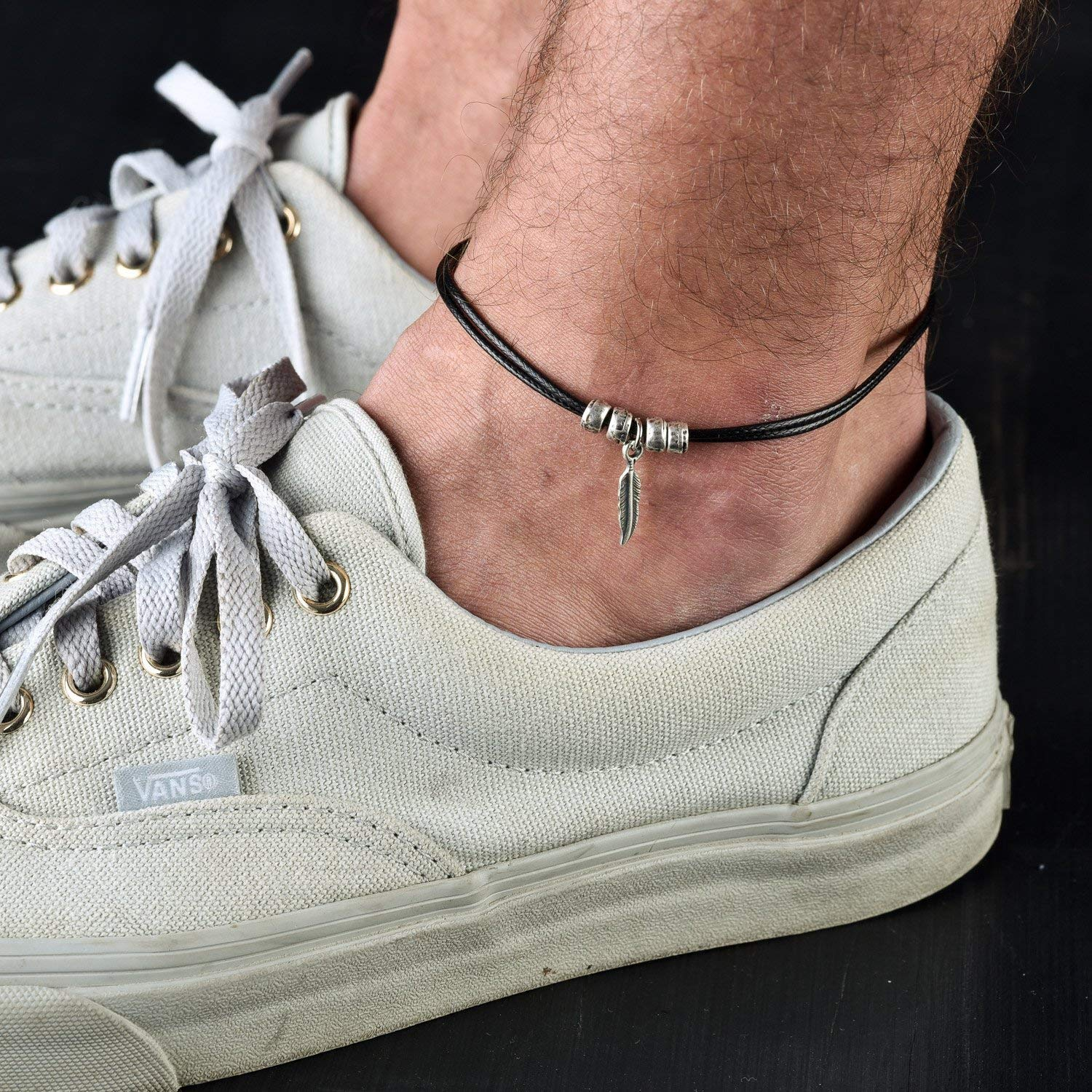 Handmade Black Anklet For Men Set With Silver Plated Feather Pendant By Galis Jewelry - Ankle Bracelet For Men - Feather Anklet For Men