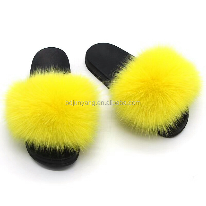 Hot selling women slippers fur sandal fox fur <strong>slide</strong>